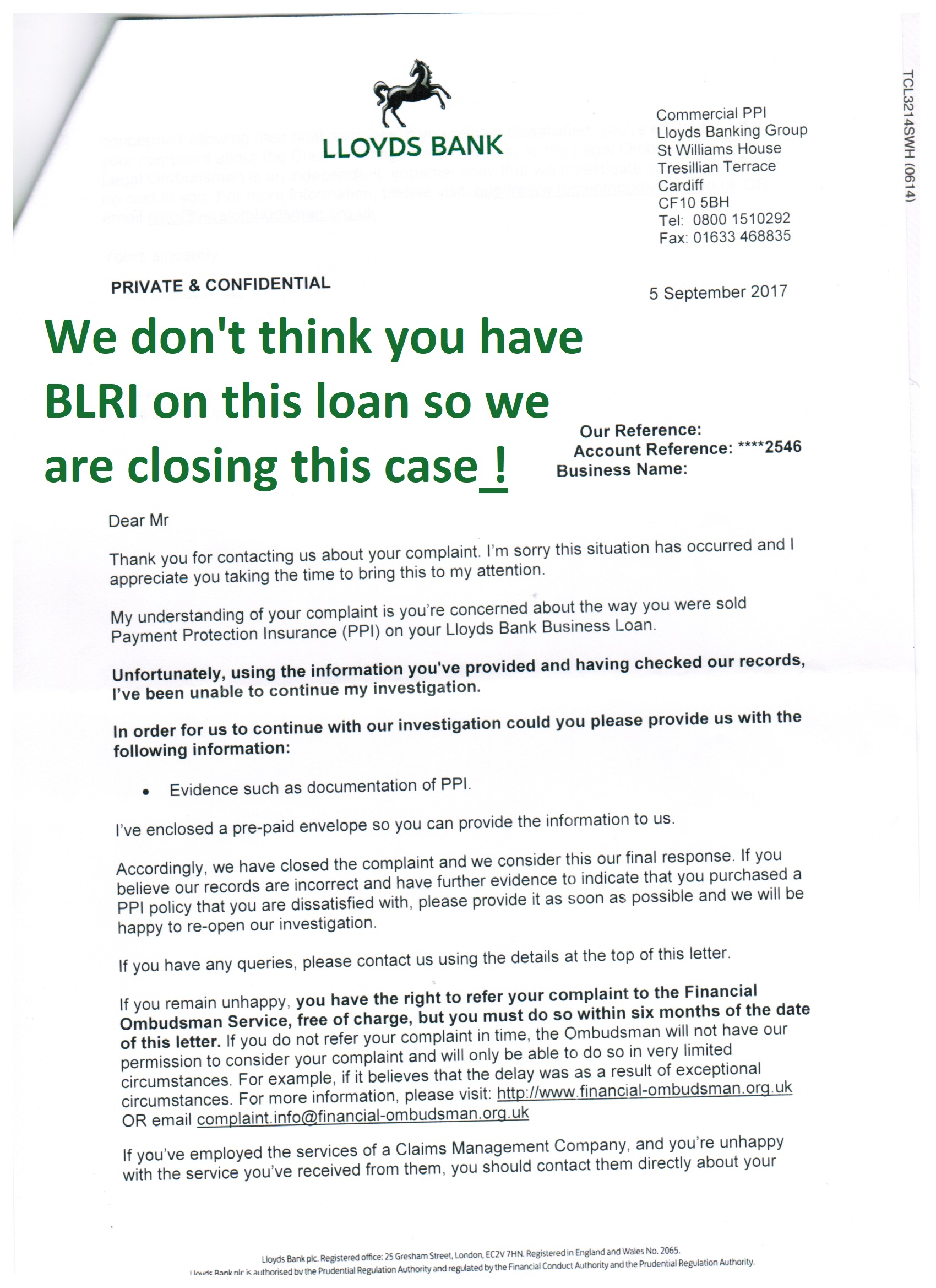 What is lloyds cori and blri jmp partnership this same client had been told in 2014 that they hadnt been sold any ppi by lloyds when we investigated his cori case they offered 1026049 expocarfo